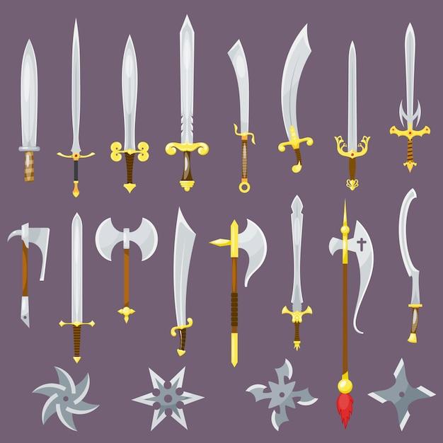 Zwaard middeleeuws wapen van ridder met scherp mes en piratenmes slagzwaard set Premium Vector