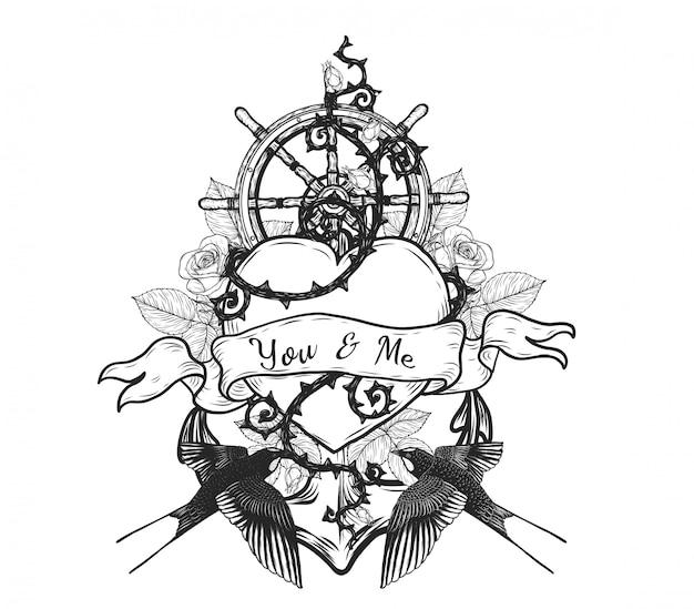 Zwaluwen Met Hart Vector Tattoo Met De Hand Tekenen Vector