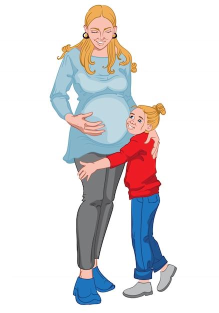 Zwangere blonde vrouw met haar kleine meisjesjong geitje. gelukkig gezin Gratis Vector