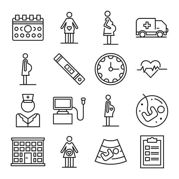 Zwangere iconen set, overzicht stijl Premium Vector