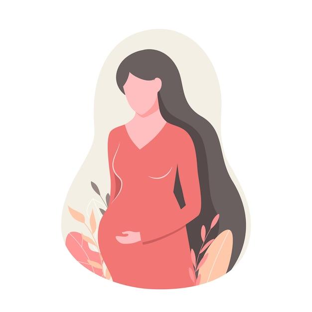 Zwangere mooie vrouw in rode jurk. Premium Vector