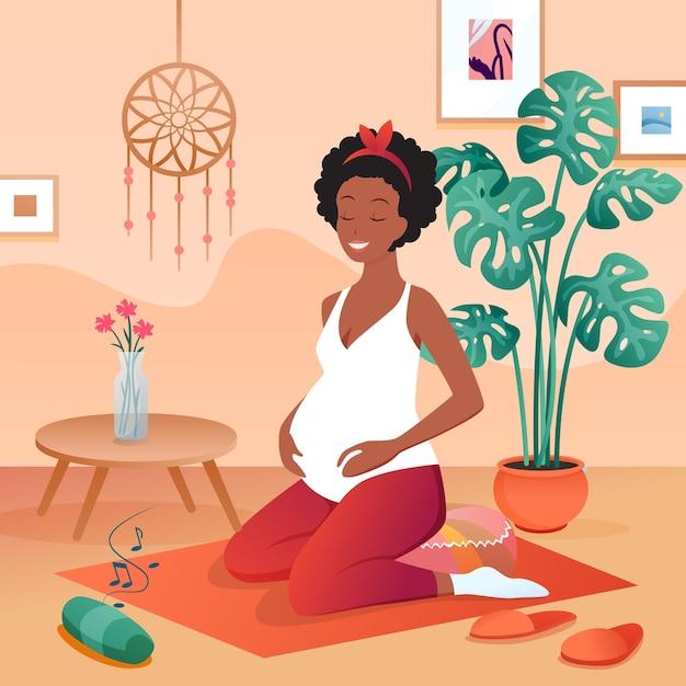 Zwangere vrouw beoefenen van yoga, kalm mediteren thuis ontspannen luisteren naar muziek, gelukkige zwangerschap Premium Vector