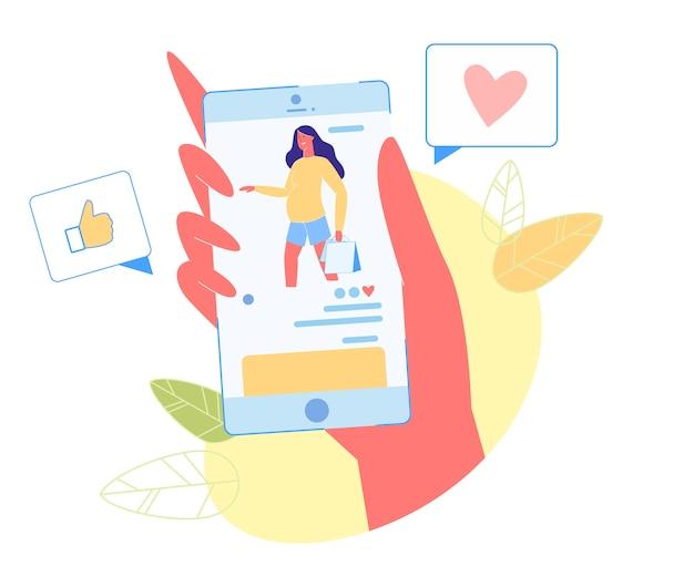 Zwangere vrouw met boodschappentassen op mobiel scherm Premium Vector