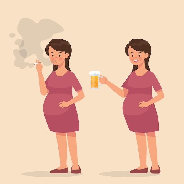 Zwangere vrouw rokende sigaret en drink een bier Premium Vector