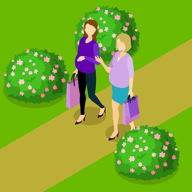 Zwangere vrouwen isometrische samenstelling Gratis Vector