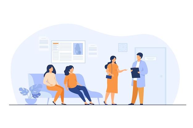 Zwangere vrouwen wachten op het kantoor van de dokter in de kliniek, zittend op de bank of raadplegende specialist Gratis Vector