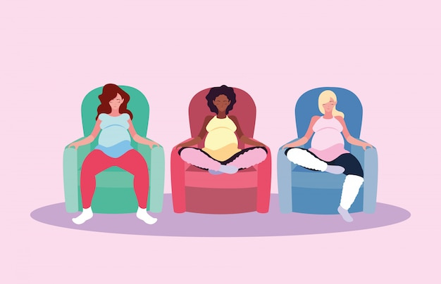 Zwangere vrouwen zittend in sofa avatar karakter Premium Vector