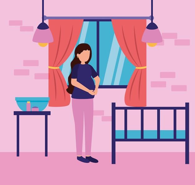 Zwangerschap en kraamscène Gratis Vector