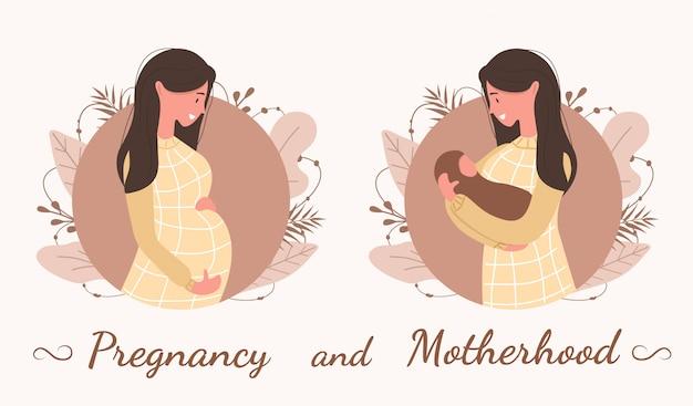 Zwangerschap en moederschap. leuke gelukkig zwangere vrouw. mooi jong meisje dat op baby wacht. Premium Vector