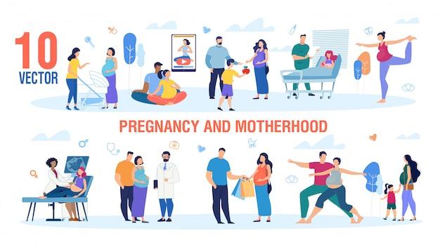 Zwangerschap en moederschap tekens vector set Premium Vector