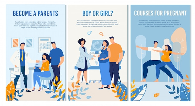 Zwangerschap management maternale prenatale serviceset Premium Vector