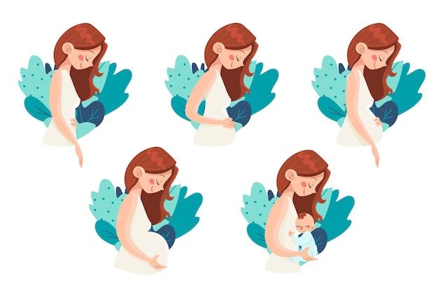 Zwangerschap stadia illustratie concept Premium Vector