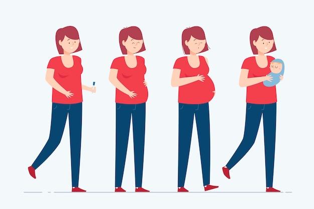 Zwangerschap stadia illustratie concept Gratis Vector