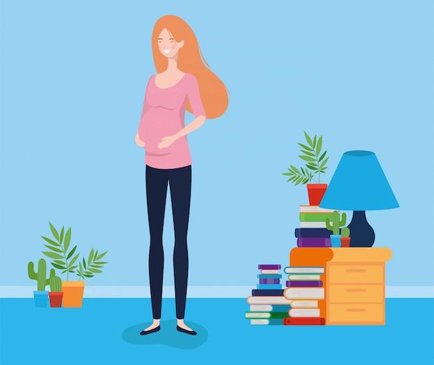 Zwangerschap vrouw in huis plaats scène Gratis Vector