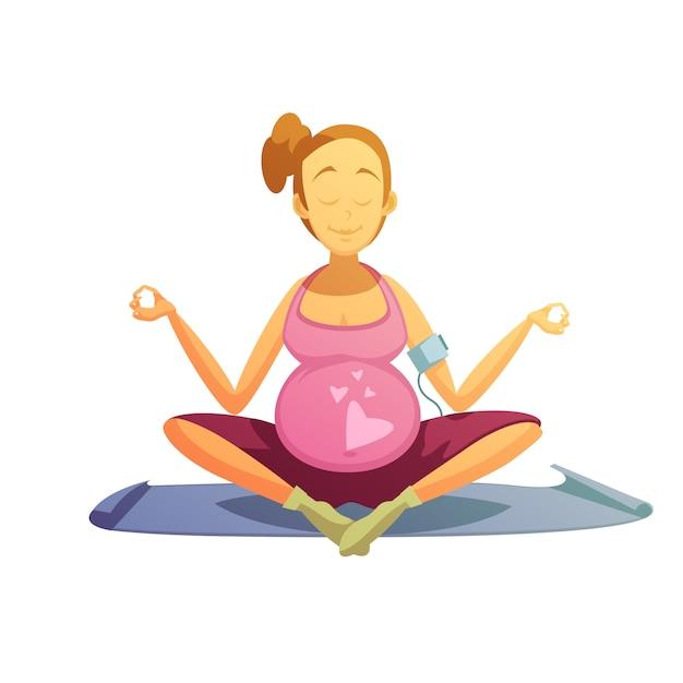 Zwangerschap yoga oefeningen retro cartoon poster Gratis Vector