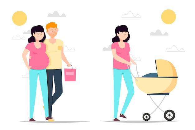 Zwangerschaps- en kraamscènes Gratis Vector
