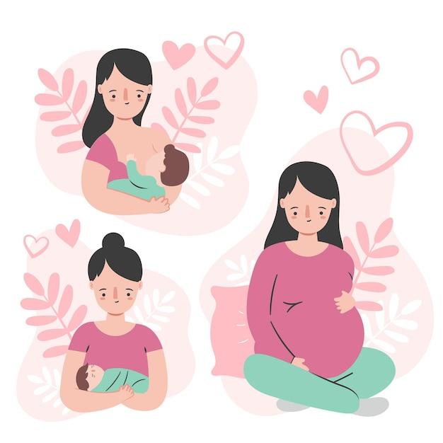 Zwangerschaps- en kraamscènes Premium Vector