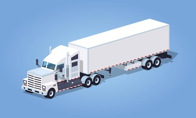 Zware 3d isometrische witte vrachtwagen met de aanhangwagen Premium Vector