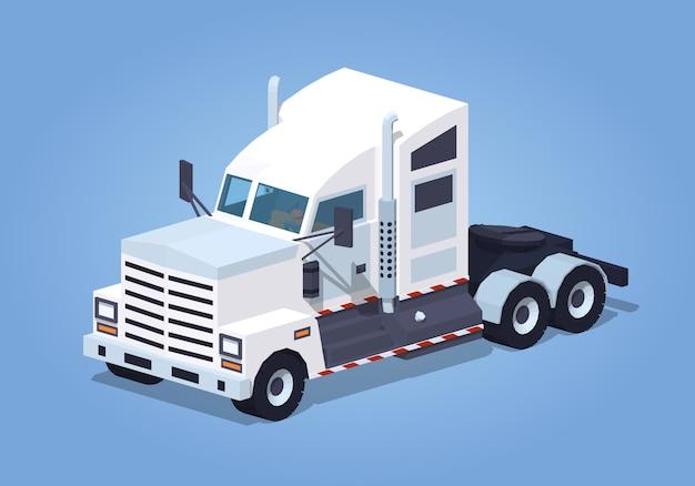 Zware 3d isometrische witte vrachtwagen Premium Vector
