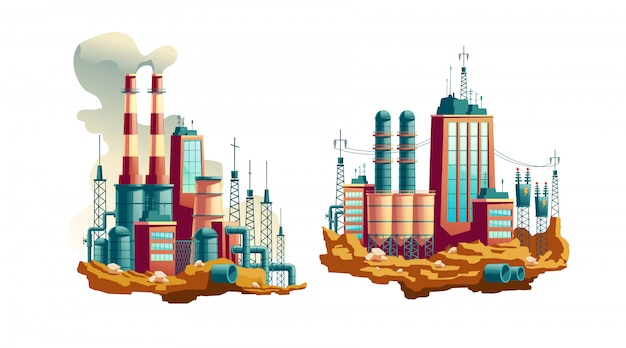 Zware industriefabriek, werkende thermische centrale of station met elektriciteit Gratis Vector