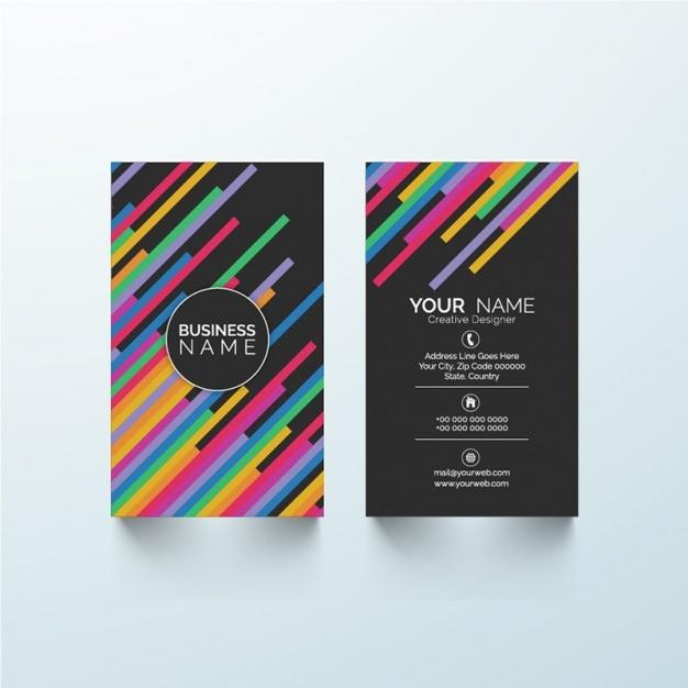 Zwart adreskaartje met kleurrijke lijnen vector premium download - Kantoor lijnen ...