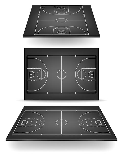 Zwart basketbalveld met perspectief. Premium Vector