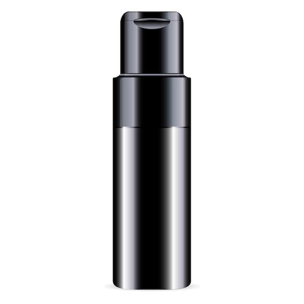 Zwart ð¡conditieflesje cosmetica mockup glanzend Premium Vector