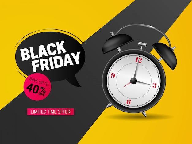 Zwart de bannerontwerp van de vrijdagverkoop met klok Premium Vector