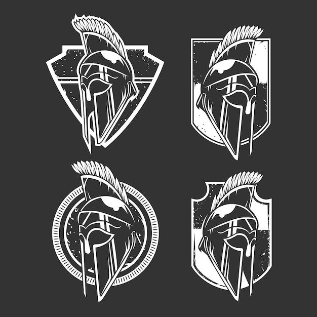 Zwart en b & w viking helm embleem set Premium Vector