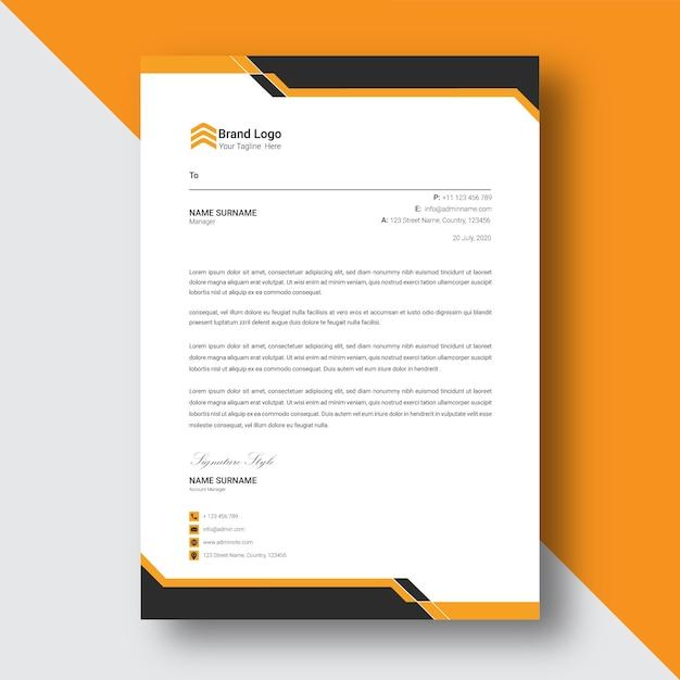Zwart en geel abstract briefhoofdsjabloon Premium Vector