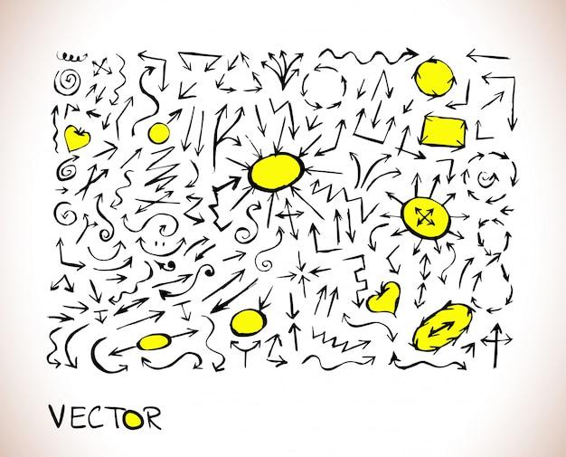 Zwart en geel doodle pijlpictogram teken Premium Vector