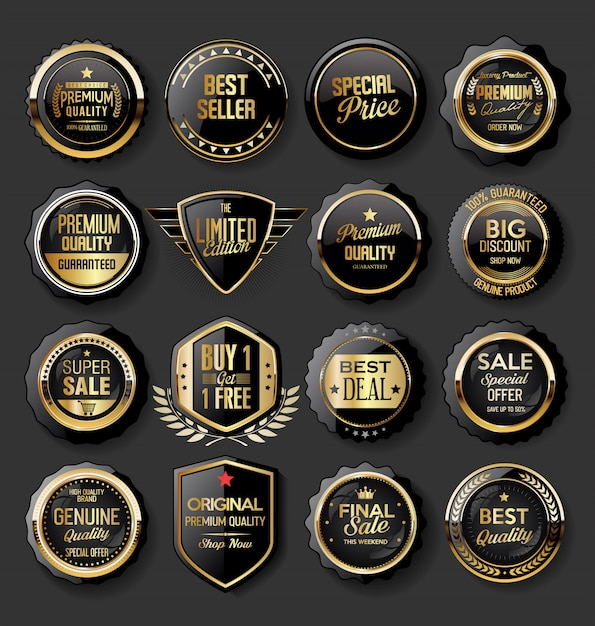 Zwart en goud badges illustratie super verkoop collectie Premium Vector