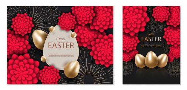 Zwart en goud happy easter achtergrond, met rode 3d-bloemen. Premium Vector