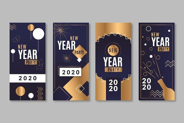 Zwart en goud met confetti instagram verhalen voor het nieuwe jaar Gratis Vector