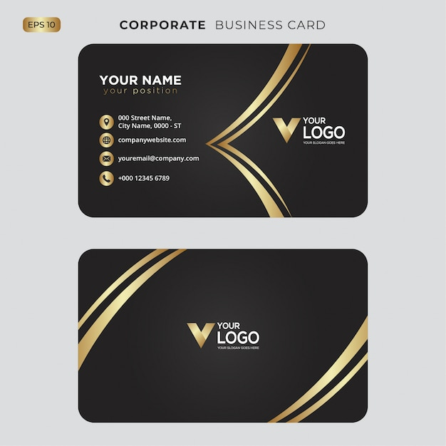 Zwart en goud visitekaartje Premium Vector