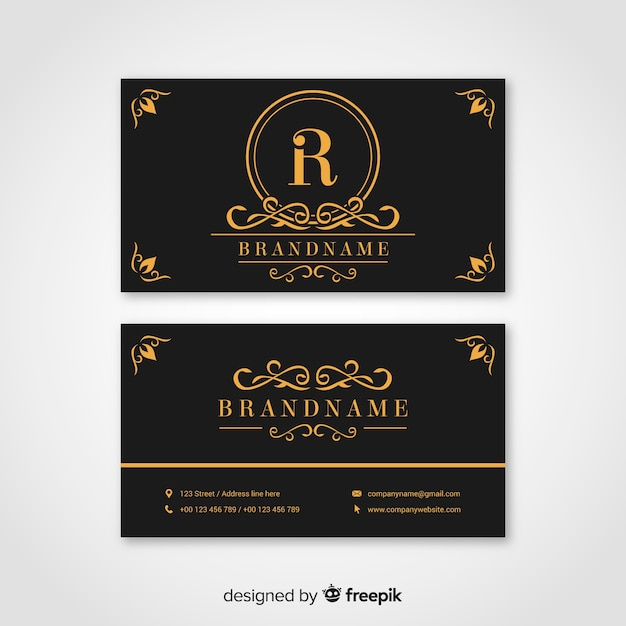 Zwart en gouden visitekaartje Gratis Vector