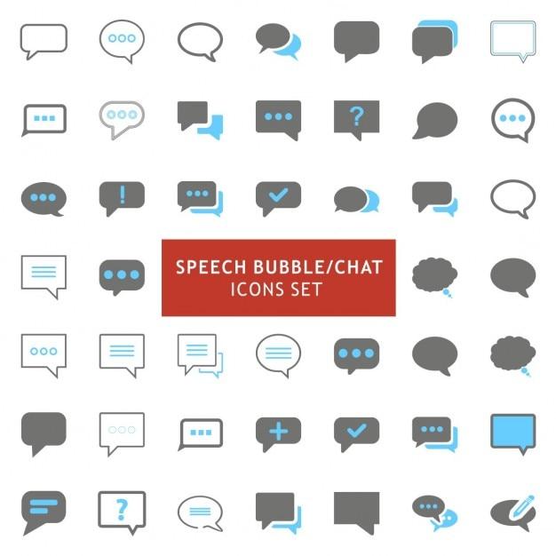Zwart en grijs toespraak bubble icons set Gratis Vector
