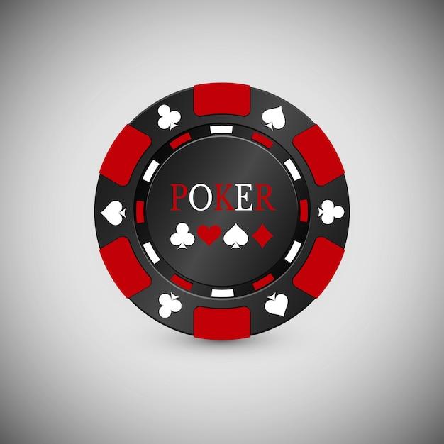 Zwart en rood casino chip-pictogram. casino-chip Premium Vector