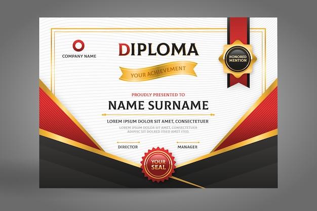 Zwart en rood diploma certificaat met lint Gratis Vector