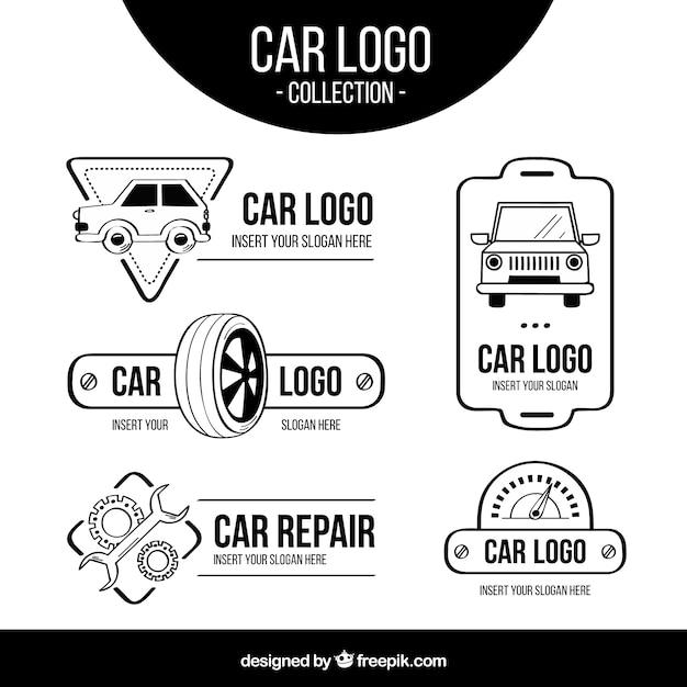 Zwart en wit auto-logopakket Premium Vector