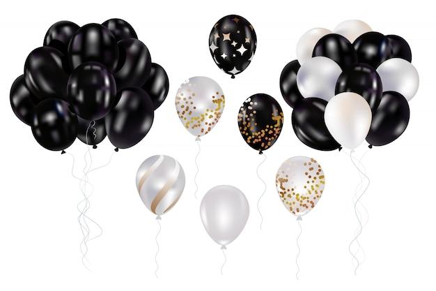 Zwart en wit ballonnen Premium Vector