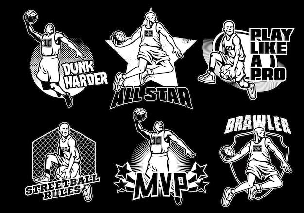 Zwart en wit basketbal badge collectie Premium Vector