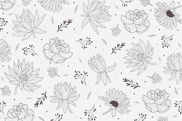 Zwart en wit bloemenbehang Gratis Vector