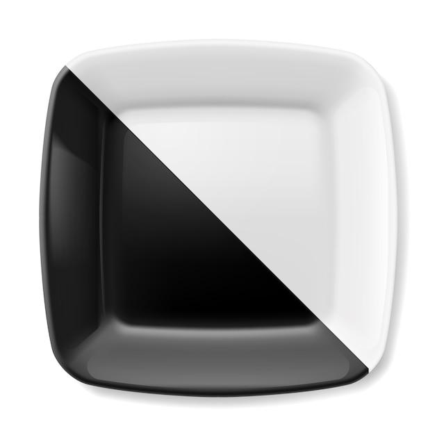 Zwart en wit bord Premium Vector
