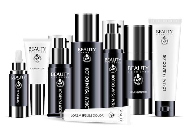 Zwart en wit cosmetische fles lege sjabloon set Premium Vector