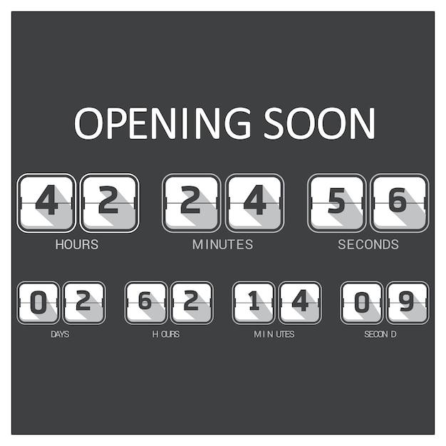 Zwart en wit countdown template Gratis Vector