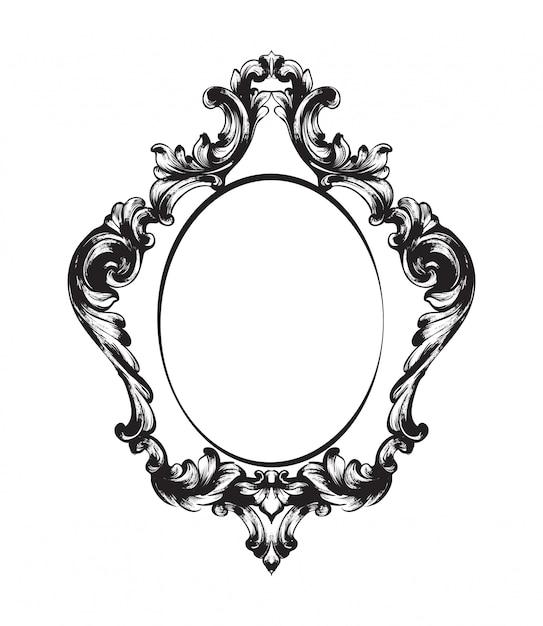 Zwart en wit. doodle vintage frame lijntekeningen Premium Vector