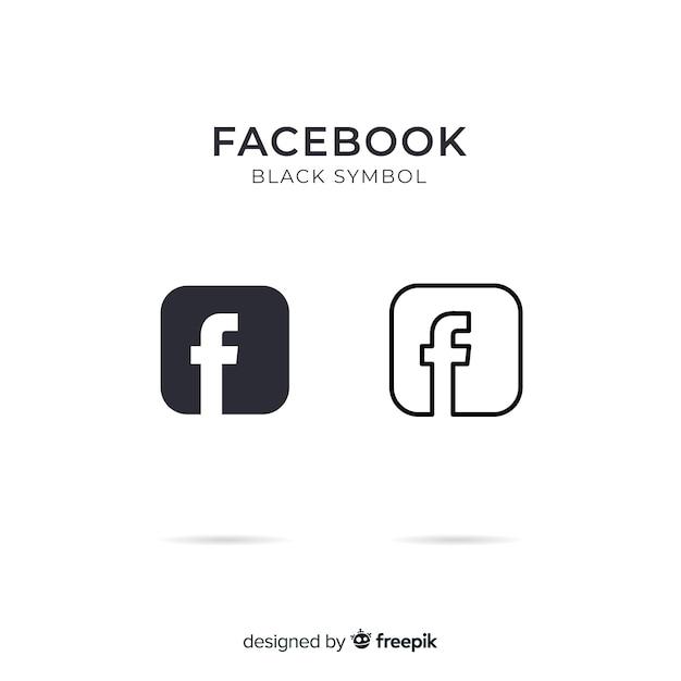 Zwart en wit facebooksymbool Gratis Vector
