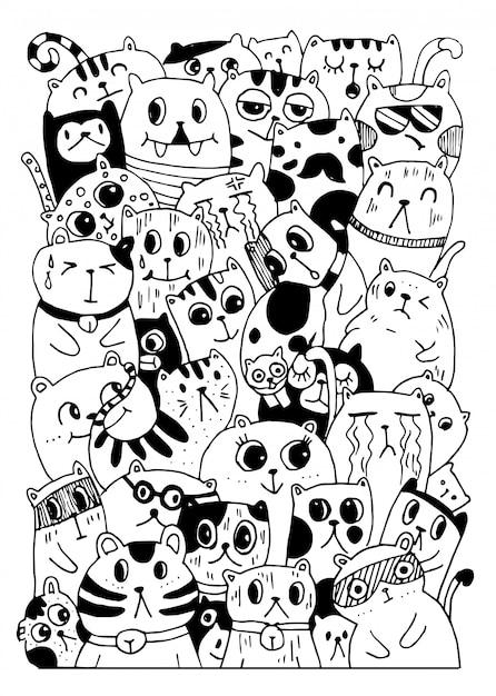 Zwart en wit hand tekenen, doodles kat stijl tekens Premium Vector