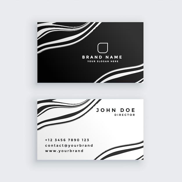 Zwart en wit marmeren visitekaartje ontwerp Gratis Vector